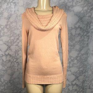 BCBGMaxAzria M Cable Knit Cowl Sweater Bisque